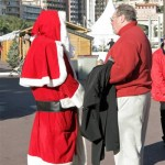 Dad having a nice chat with Father Christmas