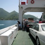 On the car ferry across the bay to Kotor