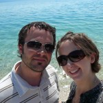 Taking a break from our road trip on the beach in Makarska