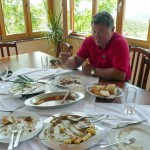 John with the remains of a great meal