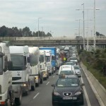 The truckers were protesting & causing major traffic jams on the way to the airport from Barecelona