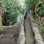 A stream of cool fresh water running down the handrails of the stairs in the Generalife
