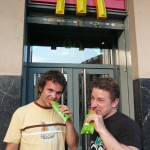 Scott & Jeff enjoying their fried apple pies (because apparently they no longer fry them in the US McD's)