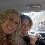 Crammed into the taxi
