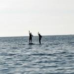 Lance & Scott walking on water. Or standing on rocks?