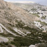 The winding road up to Ancient Thira