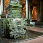 The upside-down Medusa head inside the Cistern