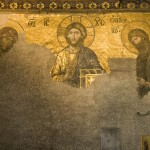 A partially restored mural inside Hagia Sofia