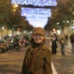 Karie on our Christmas lit street, Gran de Gracia