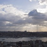 Sun breaking through the moody clouds in Istanbul
