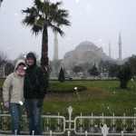 Standing in the snow, in front of the Blue Mosque