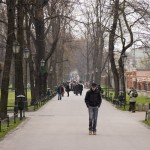 Walking through a park in Krakow