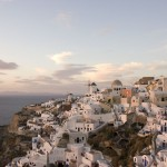 The sunset cast beautiful colors onto the village of Oia