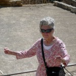 """Aunt Janice doing her """"mean gladiator"""" look in the amphitheatre"""