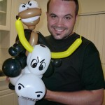 Scott's co-workers took him out to dinner, where the balloon artist made him a bull and a monkey