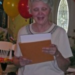 Aunt Janice reading a poem she wrote for us