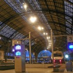 Inside the Barcelona train station, preparing to board our overnight train to Florence