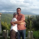 The happy couple, overlooking the grape/olive farm that we toured