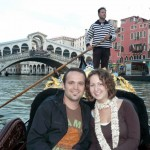 On the gondola, with Ponte Rialto in the background