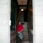 Scott opening the door to our building. Just climb 46 stairs and we're home!