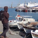 Scott admiring the boats in the Heraklion marina